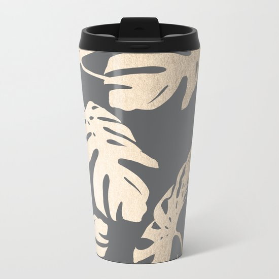 Simply Tropical Palm Leaves White Gold Sands on Storm Gray Metal Travel Mug