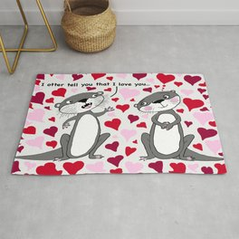otter love for Valentine's Day Rug