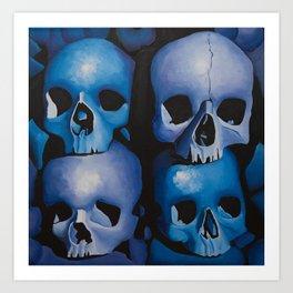 Blue & Purple Skulls Art Print