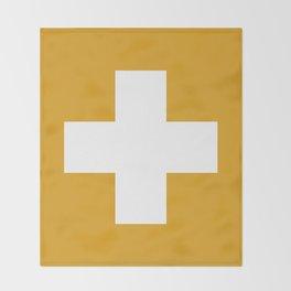 Swiss Cross Mustard Decke
