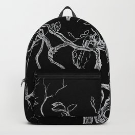 Graphic art, tree leaves, white ink Backpack