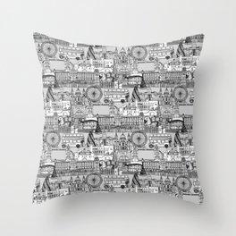 London toile black white Throw Pillow