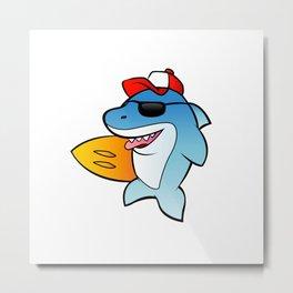 shark surfer. Metal Print
