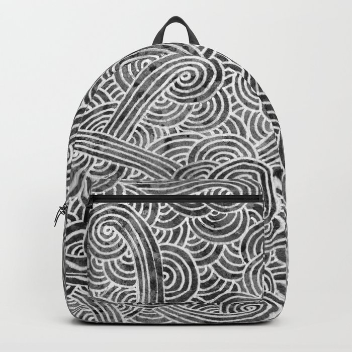 Grey and white swirls doodles Backpack