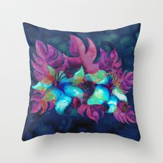Tropical Flower - Blue Lilly Throw Pillow