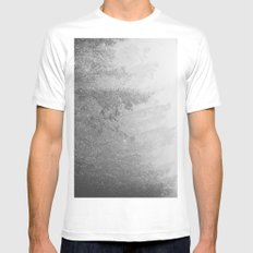 Forest Fog - Black and White Trees Snowy Star Mountain Mens Fitted Tee White MEDIUM