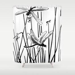 Minimal Art Flower Field Dragonflies White Shower Curtain