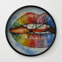 lips Wall Clocks featuring Lips by Michael Creese