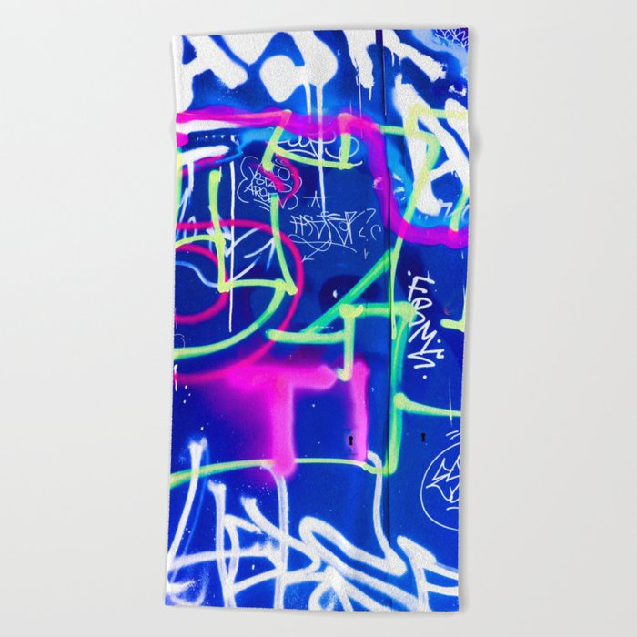 Blue Mood with Pink Language Beach Towel