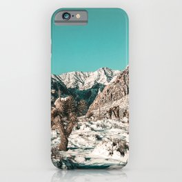 Vintage Cactus Snow & Mountains // Desert Landscape Photograph in the Mojave at Winter Red Rocks iPhone Case
