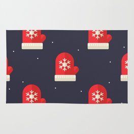 Red Christmas Gloves Pattern Rug
