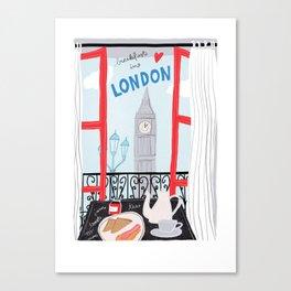 Breakfast in London // travel poster illustration Canvas Print