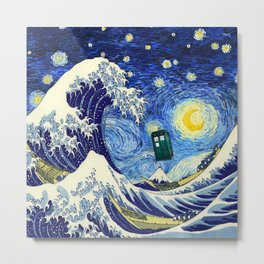 flying tardis in starry night Metal Print