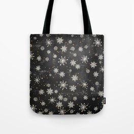 Boho Black Snowflakes Tote Bag