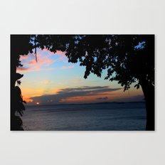 SUNSET BETWEEN TREES. Canvas Print