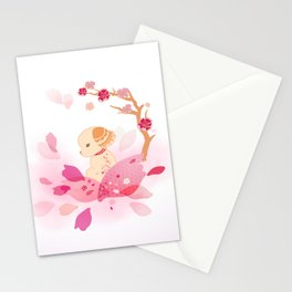 Sweet minimalist dog sakura Stationery Cards
