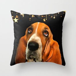 A Basset Hound. (Painting.) Throw Pillow