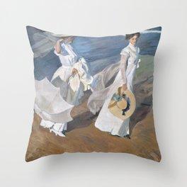 Joaquín Sorolla y Bastida - Strolling along the Seashore Throw Pillow