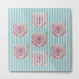 Pink Roses on Blue Metal Print