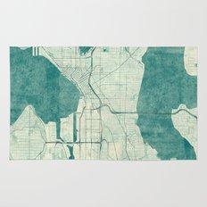 Seattle Map Blue Vintage Rug