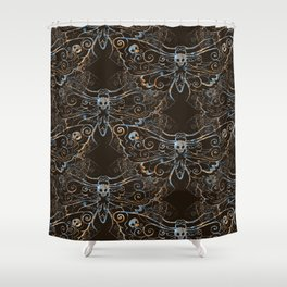 Hawkmoth Pattern in blues and browns Shower Curtain