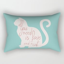 Shabby chic illustration - all you need is love (and a CAT), typography, interior design, cats, love Rectangular Pillow