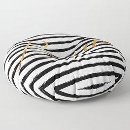 Bride & Stripes - Gold / Black Floor Pillow