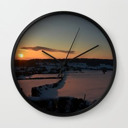 Snowy Yorkshire Sunrise Wall Clock