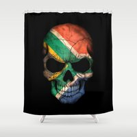 south africa Shower Curtains featuring Dark Skull with Flag of South Africa by Jeff Bartels