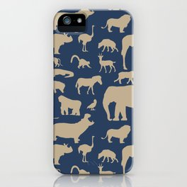 African Fauna // Khaki & Navy iPhone Case
