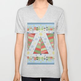 Holiday Christmas Village with Patchwork Christmas Trees Snow and Stars Unisex V-Neck