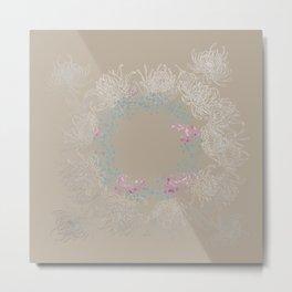 Baja Dunes Luminosity Floral Wreath Pattern Metal Print