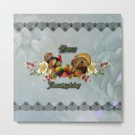 Wonderful Thanksgiving design with fruits and turkey Metal Print