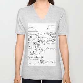 cat in the Bush black and white drawing Unisex V-Neck