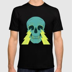 Lightning Skull Mens Fitted Tee MEDIUM Black