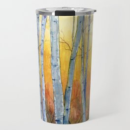 Birch Trees at Sunset Travel Mug