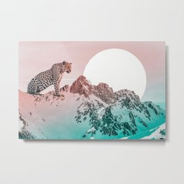 Leopard and the mountains Metal Print