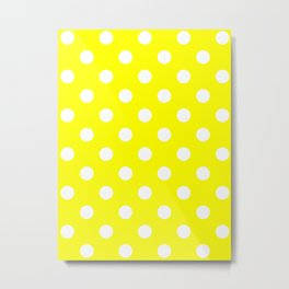 Polka Dots - White on Yellow Metal Print