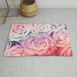 Some people grumble II  Floral rose flowers pink and multicolor flower garden Rug