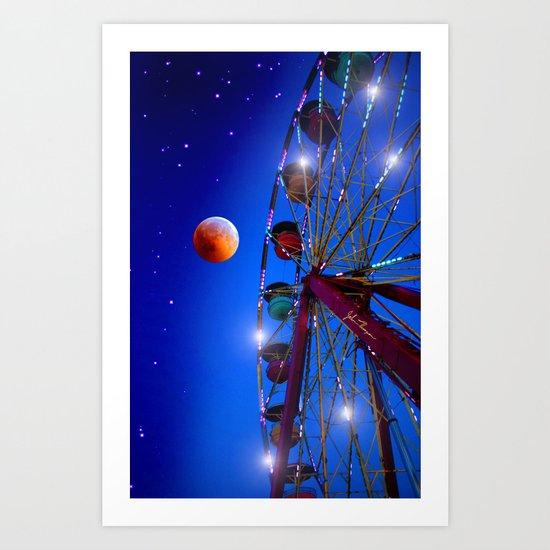Ferris wheel to the moon Art Print
