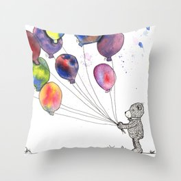 bear holding balloons watercolor and ink painting Throw Pillow
