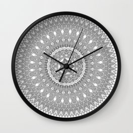 Black and White Feather Mandala Boho Hippie Wall Clock