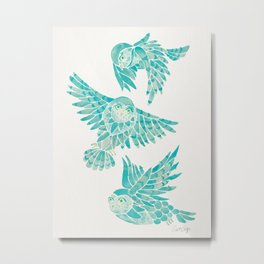 Owls in Flight – Turquoise Palette Metal Print