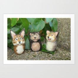 Felted Animal Miniatures Art Print