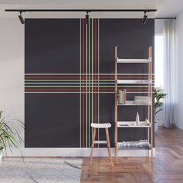 Retro Colored Thin Lined Cross Wall Mural