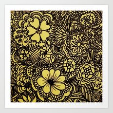 Hippy Happy Golden Flower power Art Print