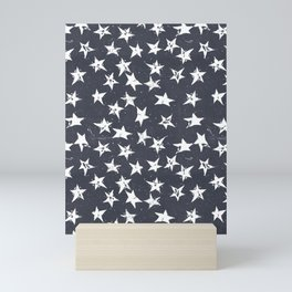 Linocut Stars - Navy & White Mini Art Print