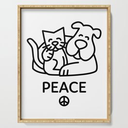 Animals Peace Between Dogs and Cats Serving Tray