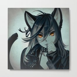 Leather Cat Metal Print