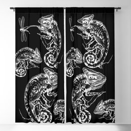 Catch - Chameleon and Dragonfly Illustration Hand Drawing from Inktober 2019 Blackout Curtain